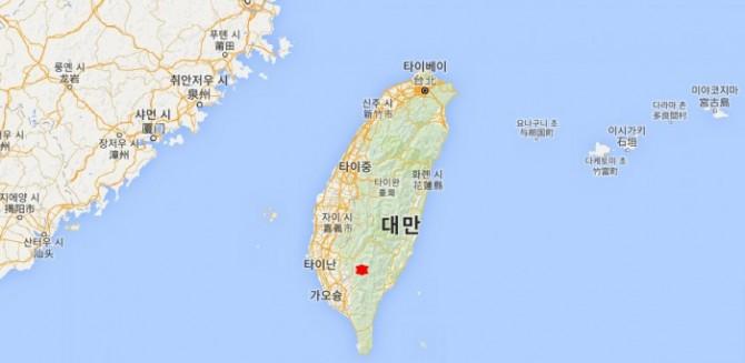 6일(현지시간) 오전 3시 57분쯤 대만 남부 타이난시에서 동남쪽으로 31km정도 지점에서 규모 6.4의 지진이 발생했다.  - google map 제공